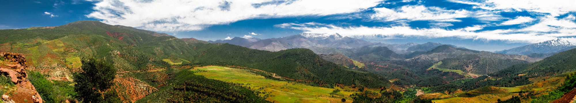 Panorama view to Atlas mountains and valley, Morocco